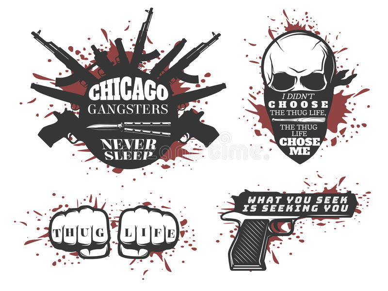 芝加哥被设置的匪徒行情 库存例证