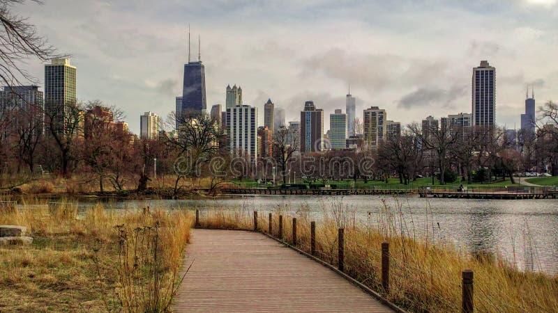 芝加哥都市风景在一阴天,如被看见从南池塘自然木板走道在林肯公园邻里 都市的横向 免版税库存图片