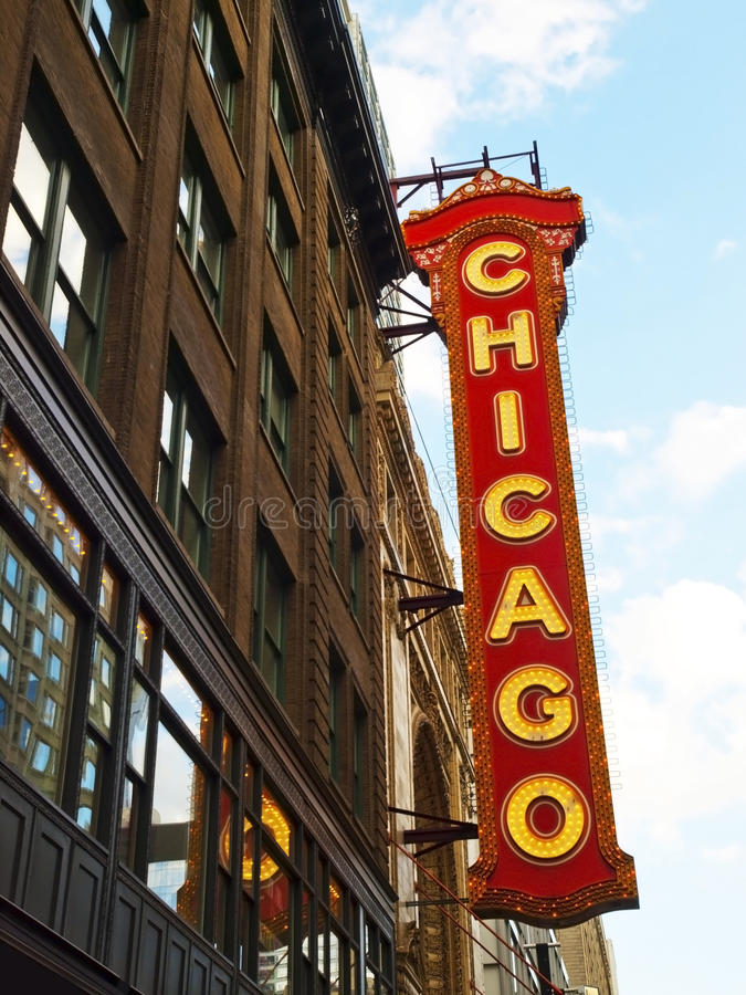 芝加哥霓虹灯广告 免版税库存照片