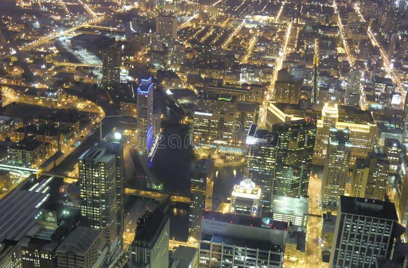 芝加哥,伊利诺伊夜空中地平线  库存图片