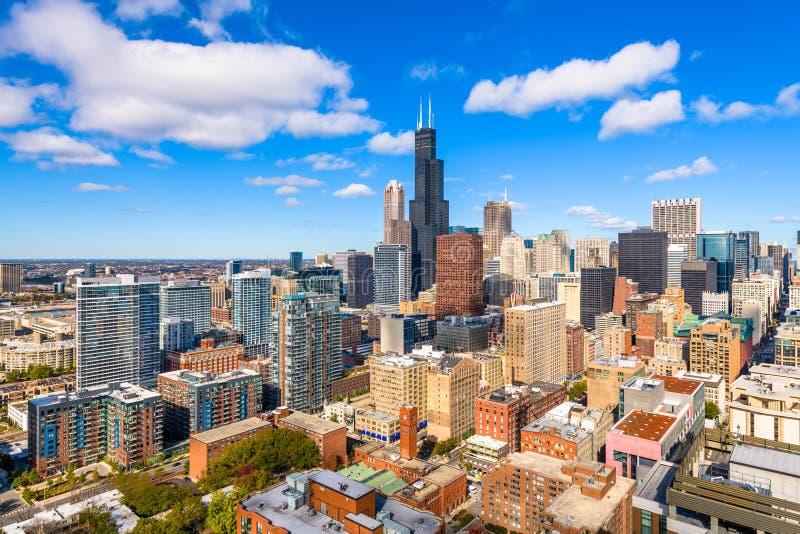 芝加哥,伊利诺伊,美国街市市地平线从上面 库存照片