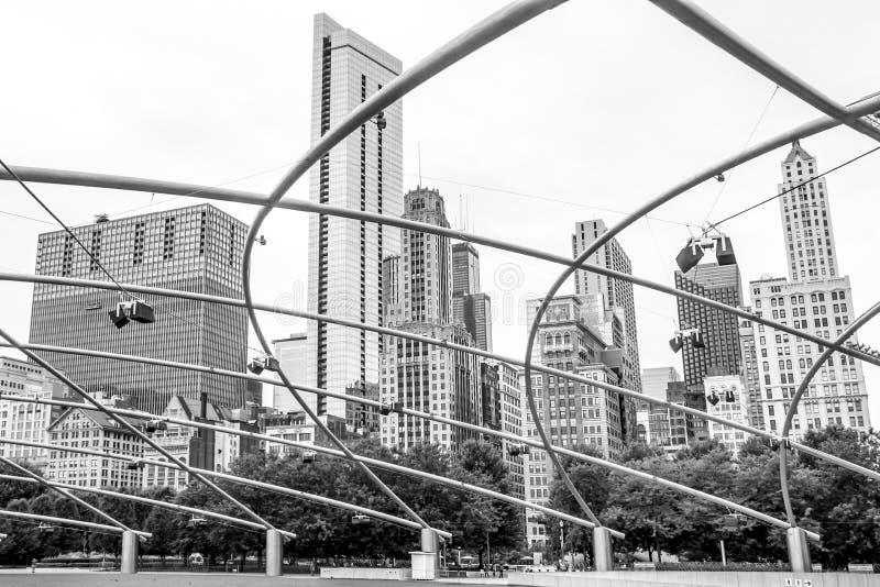 芝加哥,千禧公园,地平线建筑学, 免版税图库摄影