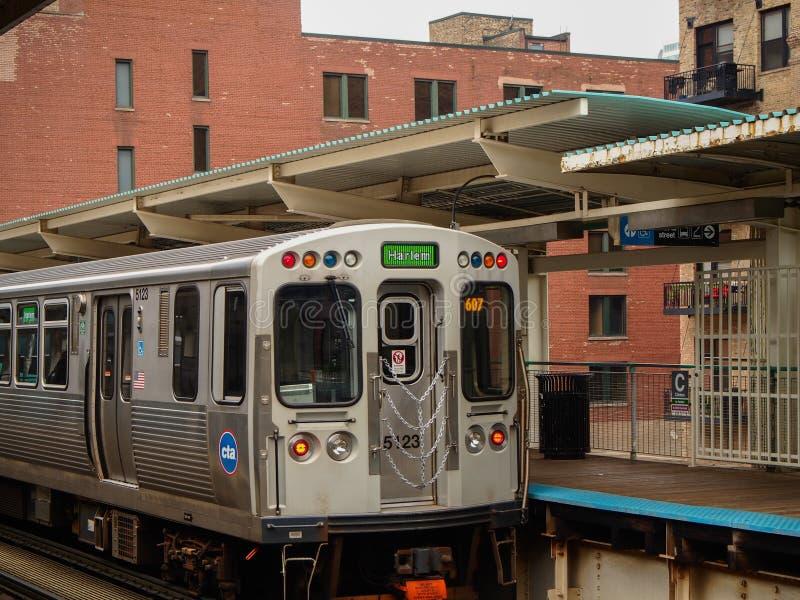 芝加哥,美国-对哈林的火车在芝加哥-美国 免版税库存图片