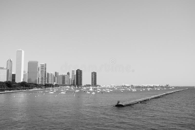 芝加哥, IL 8月19,2015 :城市和码头 免版税库存照片