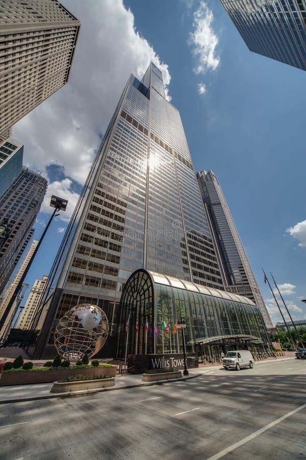 芝加哥, IL/USA -大约2015年7月:亦称威利斯塔西尔斯大厦在街市芝加哥,伊利诺伊 免版税库存图片