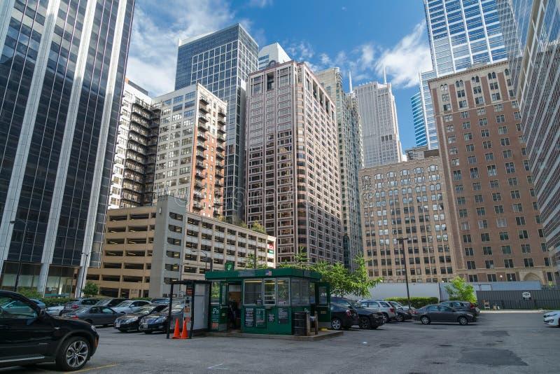 芝加哥, IL/USA -大约2015年7月:街市芝加哥,伊利诺伊街道  库存照片