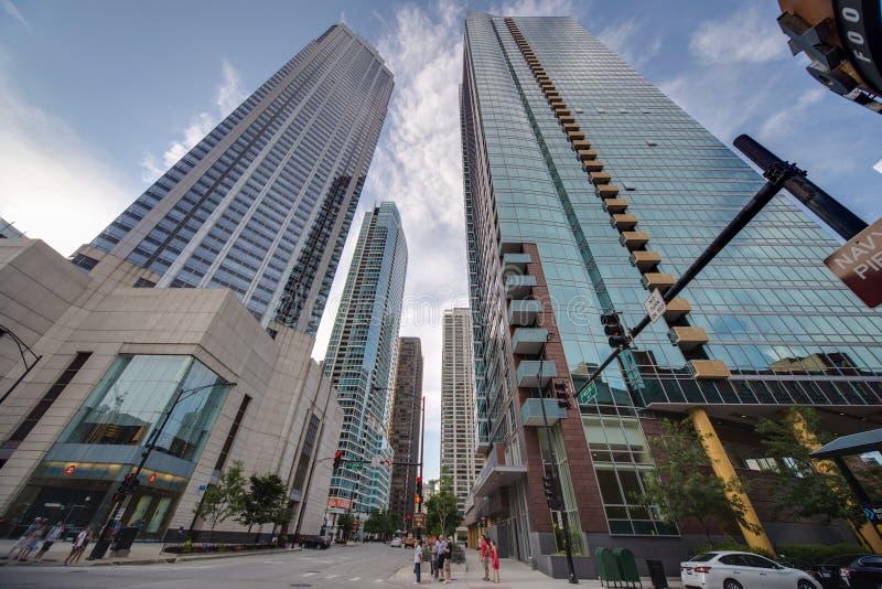 芝加哥, IL/USA -大约2015年7月:高层建筑物在芝加哥,伊利诺伊 库存图片