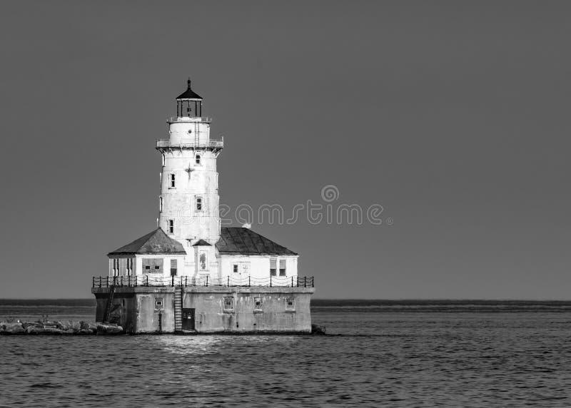 芝加哥黑白港口的光 库存照片