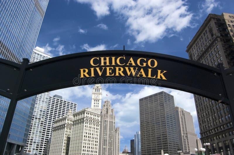 芝加哥riverwalk符号 免版税库存图片