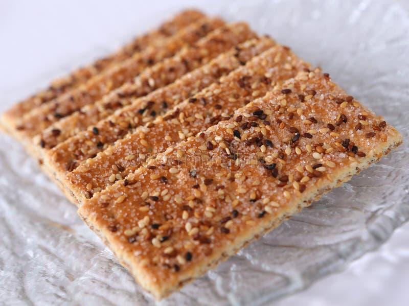 芝麻结块用可可粉和糖 库存照片