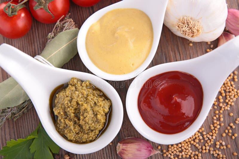 芥末、番茄酱和pesto调味汁 库存照片