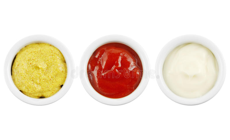 芥末番茄酱和蛋黄酱 免版税库存照片
