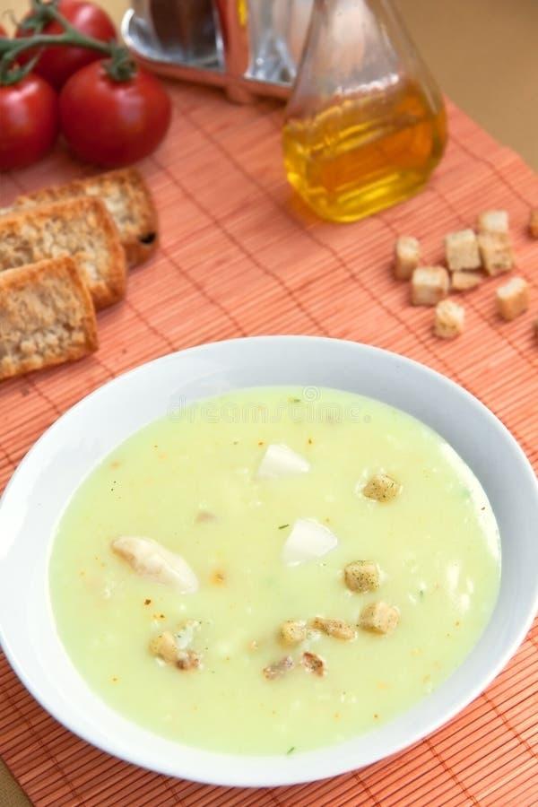芦笋油煎方型小面包片汤 免版税图库摄影