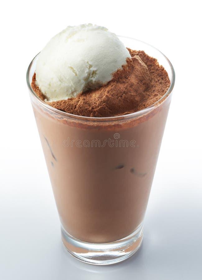 芦粟恐龙与冰淇凌的巧克力饮料 免版税库存图片
