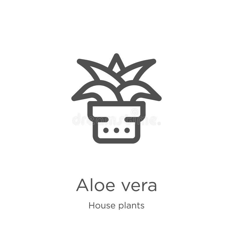 芦荟维拉从房子植物汇集的象传染媒介 稀薄的线芦荟维拉概述象传染媒介例证 概述,稀薄的线芦荟 库存例证