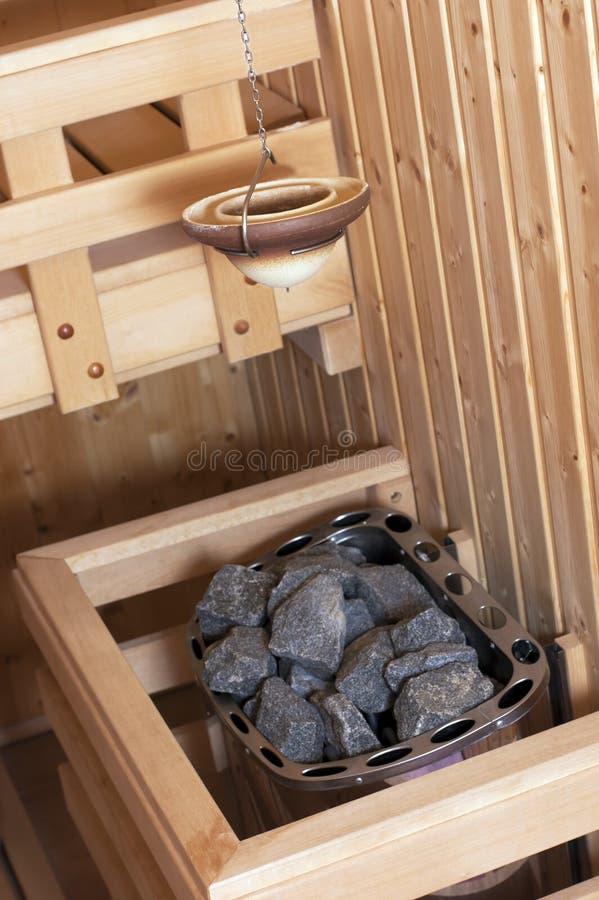 芬兰内部蒸汽浴 免版税图库摄影