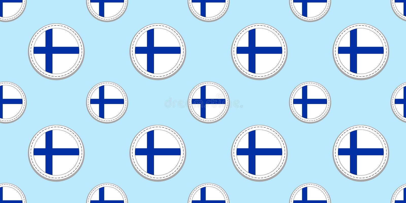 芬兰回合旗子无缝的样式 芬兰人背景 传染媒介圈子象 几何标志 为运动栏构造 皇族释放例证