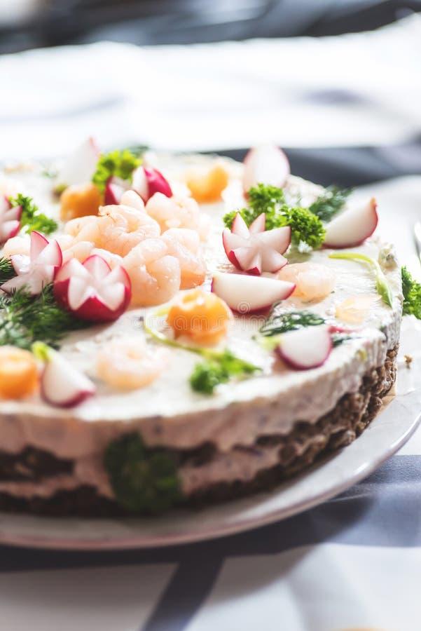 芬兰岛民三明治蛋糕特写镜头  库存图片