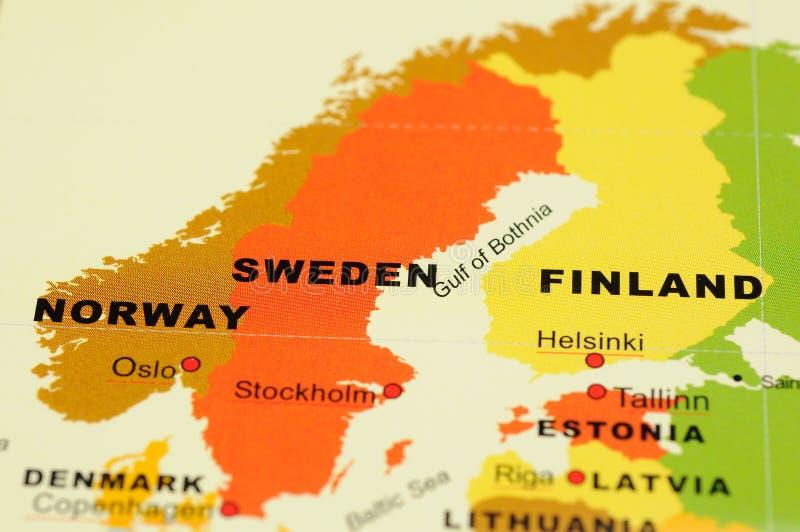 芬兰映射挪威瑞典 免版税库存图片