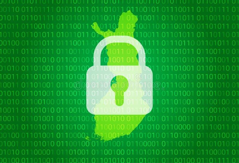 芬兰映射 例证有锁和二进制编码背景 阻拦的互联网,病毒攻击,保密性保护 皇族释放例证