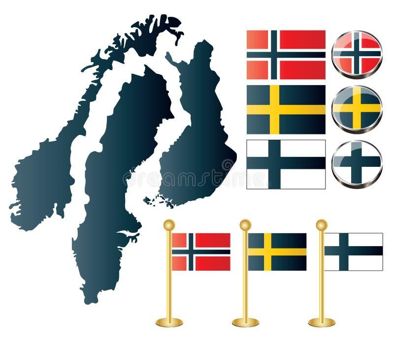 芬兰查出映射挪威瑞典 库存例证