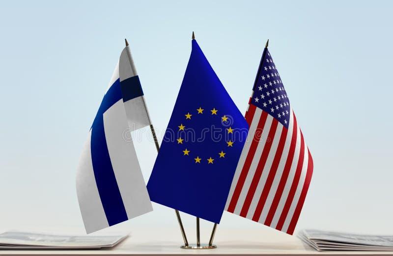 芬兰欧盟和美国的旗子 库存照片