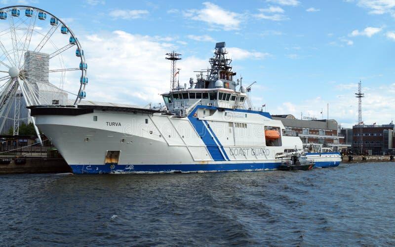 芬兰海岸警卫队TURVA号轮在芬兰赫尔辛基 库存图片