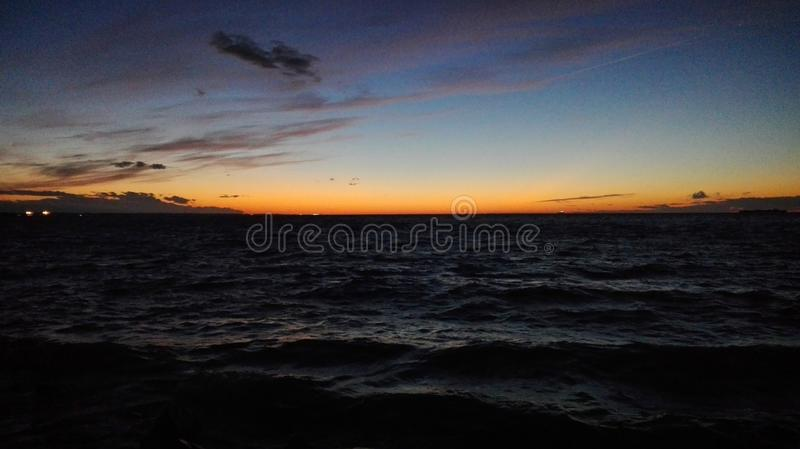 芬兰海湾 日落 库存图片