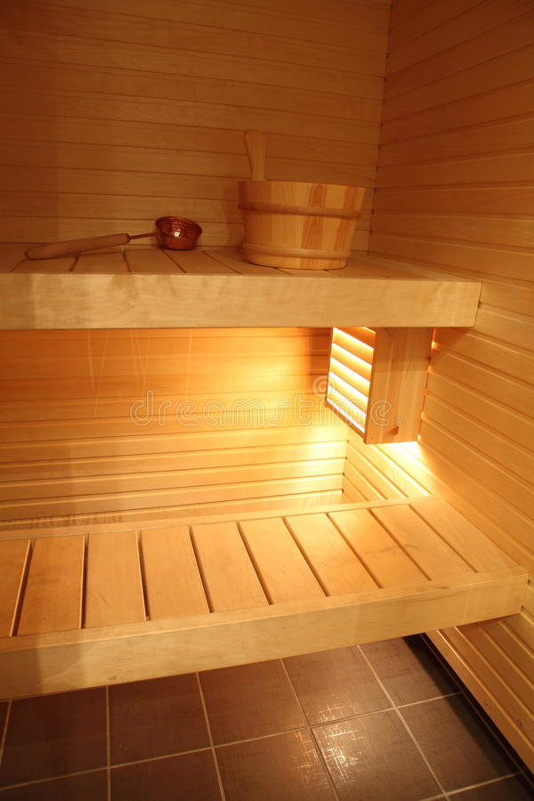 芬兰现代蒸汽浴 图库摄影