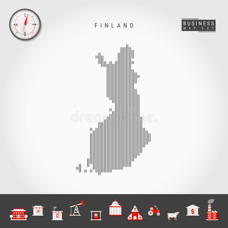 芬兰的传染媒介垂直线地图 芬兰的镶边剪影 现实指南针 r 皇族释放例证