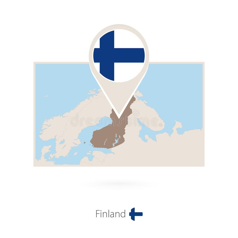 芬兰的长方形地图有芬兰的别针象的 向量例证