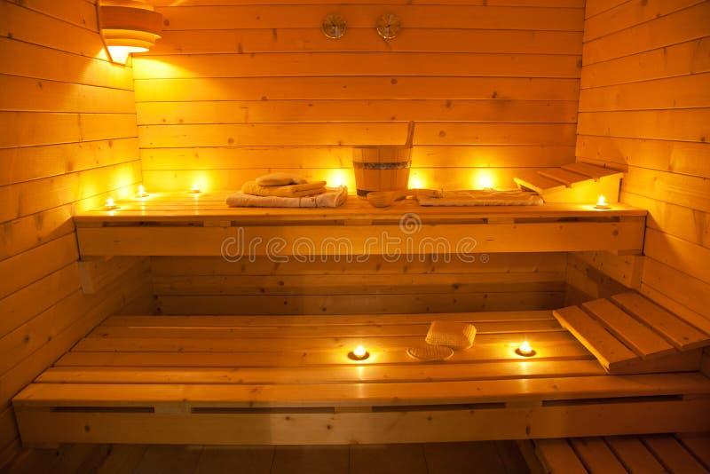 芬兰蒸汽浴内部  免版税图库摄影