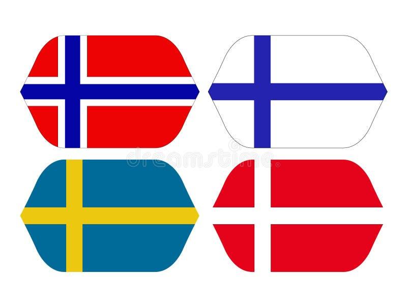 芬兰语斯堪的纳维亚国家的旗子-,丹麦语 挪威和瑞典旗子 皇族释放例证