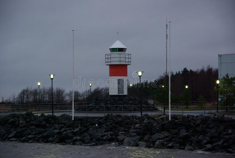 芬兰,口岸波里,老灯塔,与光的风景 库存照片