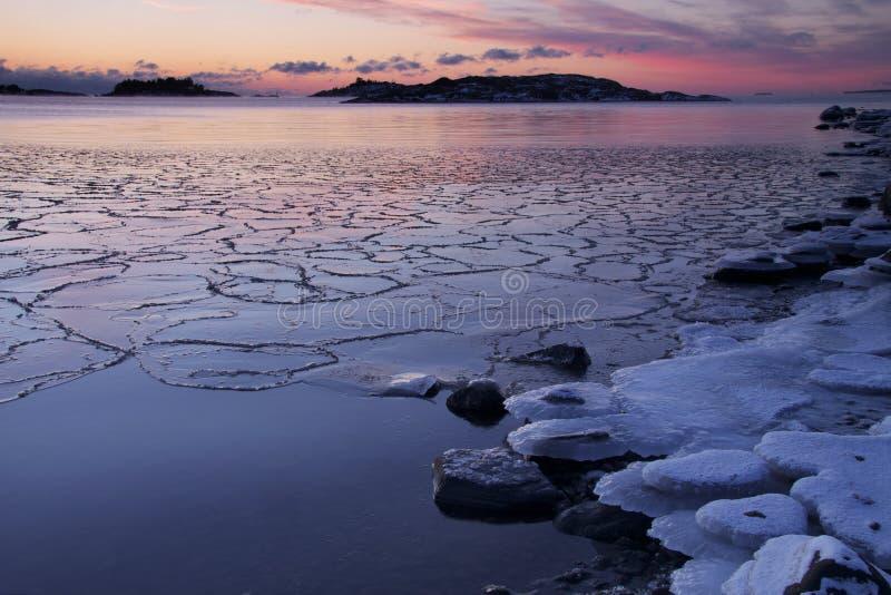 芬兰:冬天日落 免版税库存照片