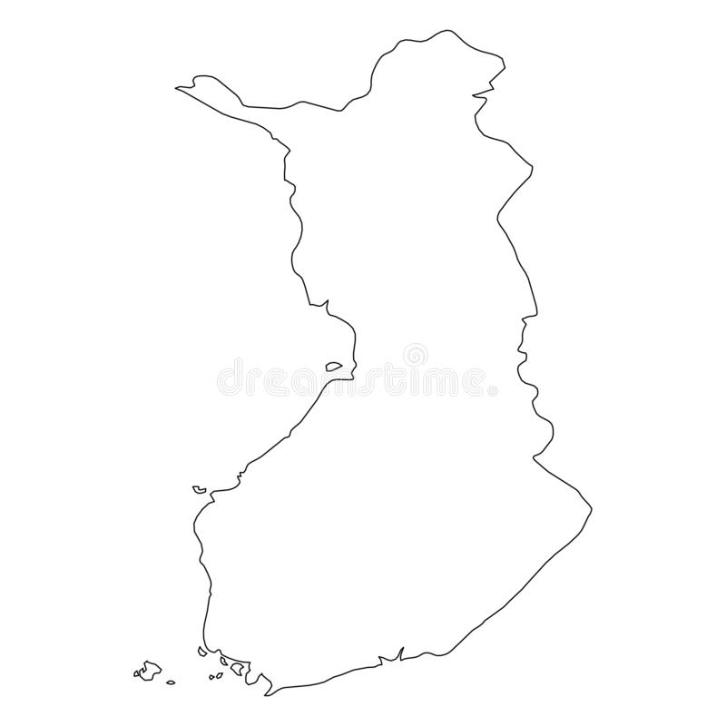 芬兰-国家区域坚实黑概述边界地图  简单的平的传染媒介例证 皇族释放例证