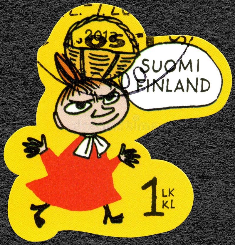 芬兰- 2013年:显示Mymble的女儿,Moomin喜爱 免版税库存图片