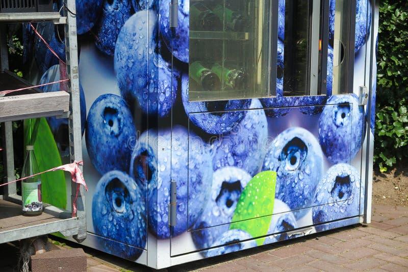 芬洛,荷兰-朱安23 2019年:在被隔绝的果子分配器贩卖机的看法蓝莓产品待售在荷兰农场的 库存图片