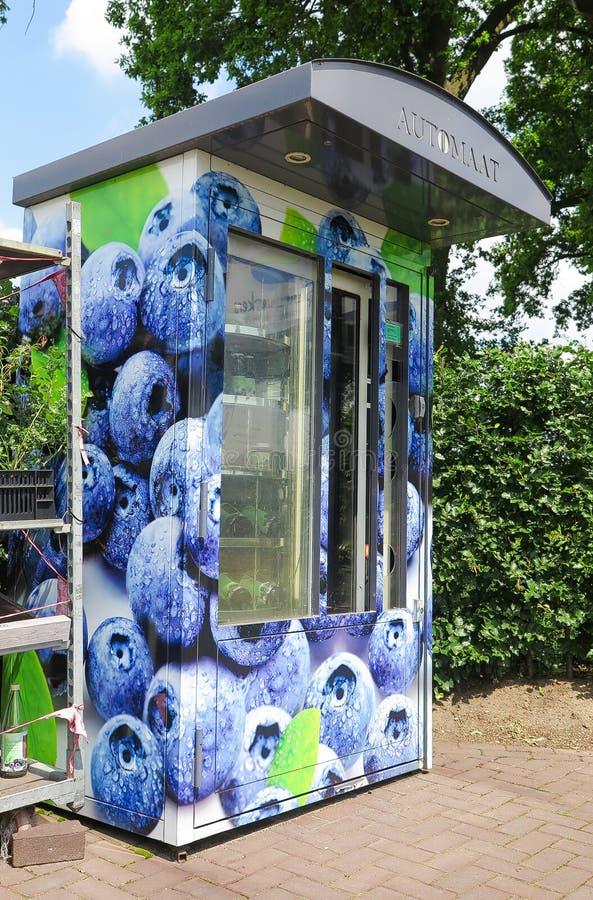 芬洛,荷兰-朱安23 2019年:在被隔绝的果子分配器贩卖机的看法蓝莓产品待售在荷兰农场的 图库摄影