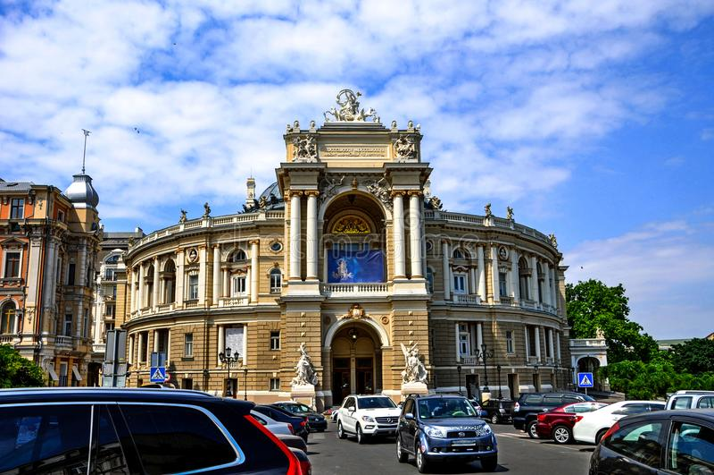芭蕾傲德萨歌剧剧院乌克兰 乌克兰 傲德萨 大门的门户 库存照片