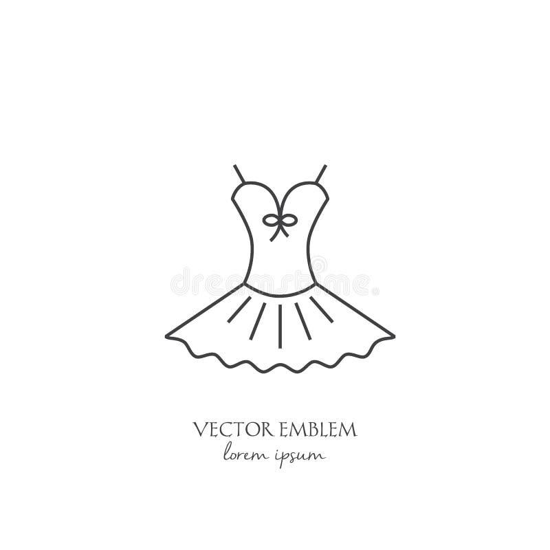 芭蕾礼服线在白色隔绝的象 库存例证