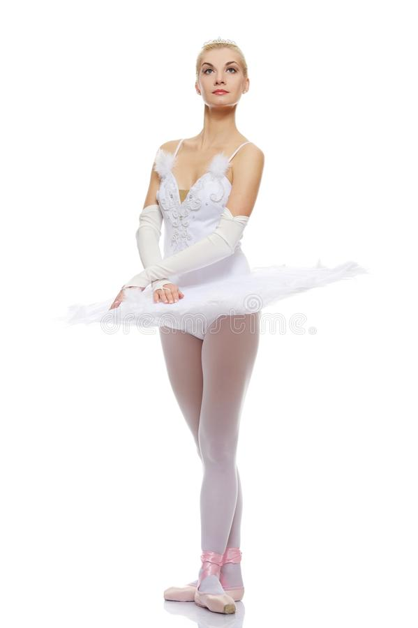 芭蕾美丽的舞蹈演员查出的白色 免版税图库摄影