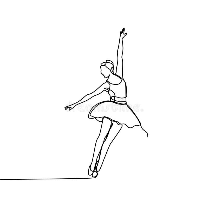 芭蕾舞女演员一实线图画传染媒介例证 艺术性的舞蹈简单派设计 皇族释放例证