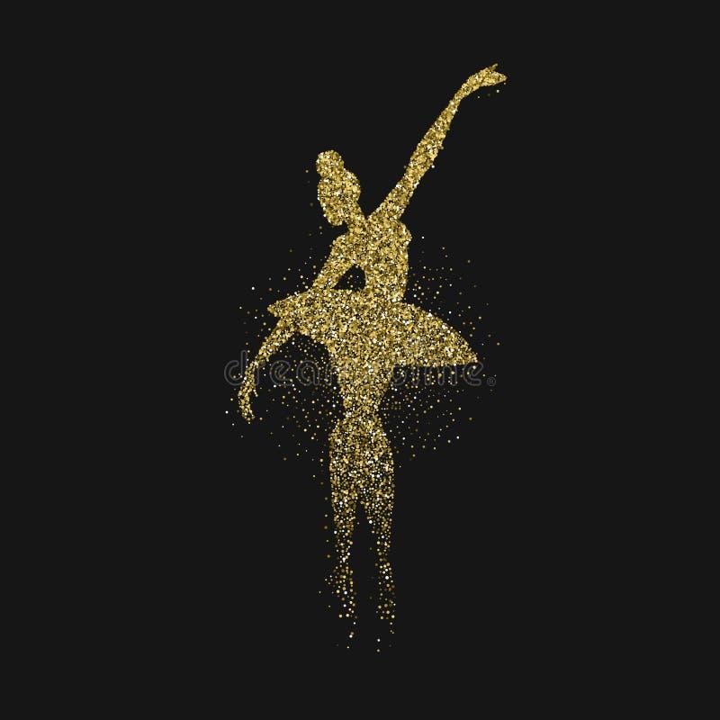 芭蕾舞女演员女孩剪影由金子闪烁制成 库存例证
