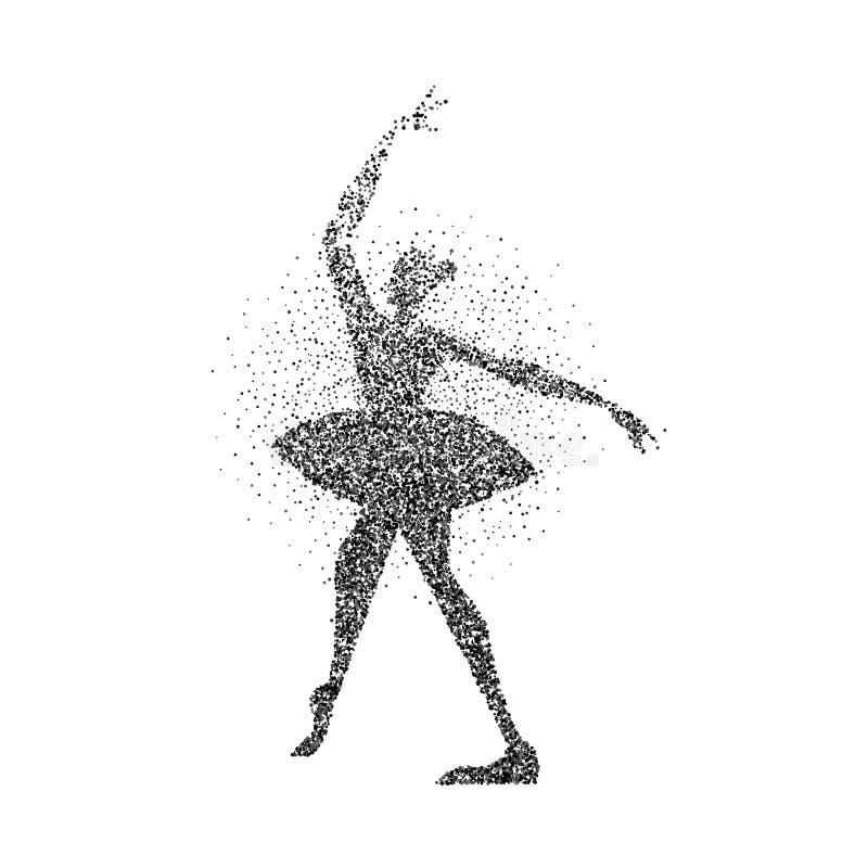 芭蕾舞女演员女孩剪影由黑微粒做成 库存例证