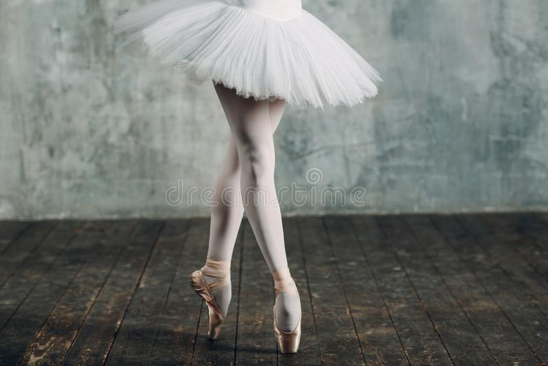芭蕾舞女演员女性 年轻美女跳芭蕾舞者,穿戴在专业成套装备、pointe鞋子和白色芭蕾舞短裙 库存图片