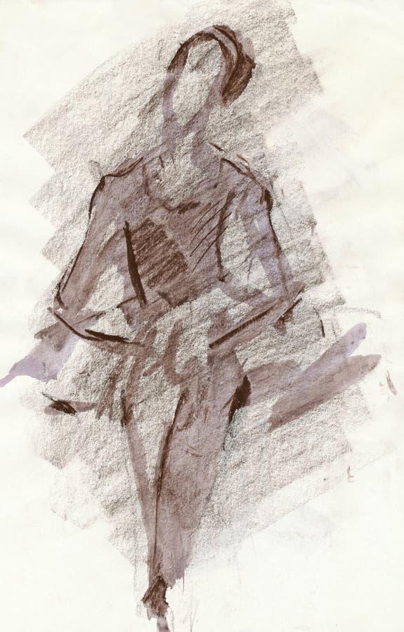 芭蕾舞女演员棕色图画 皇族释放例证