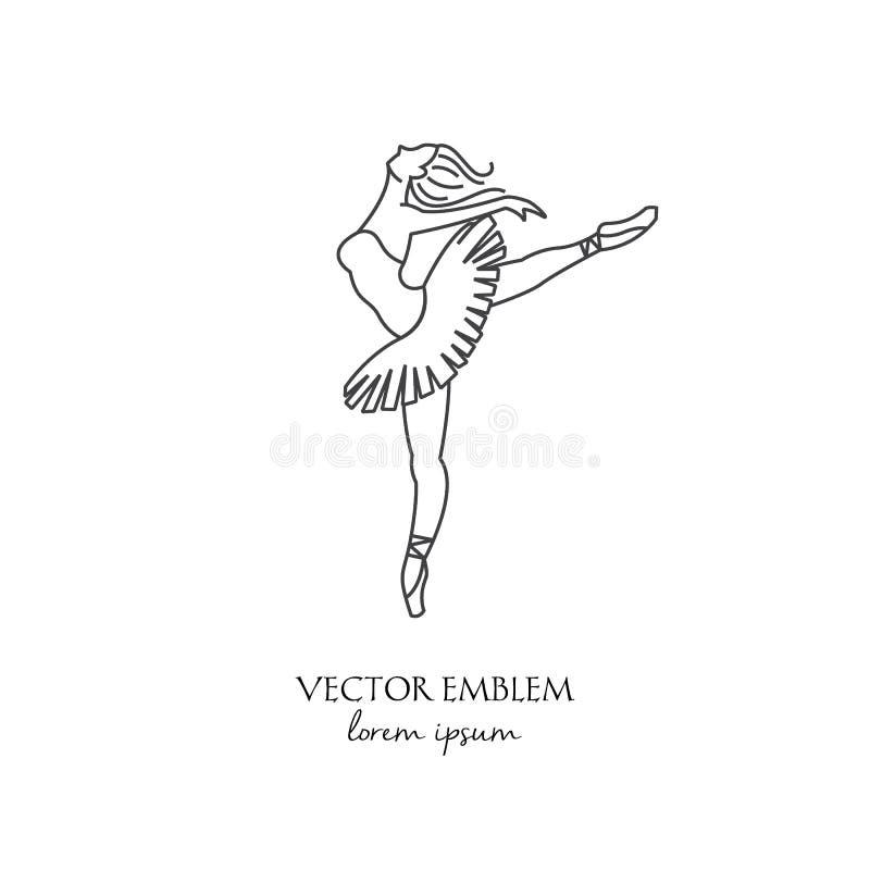 芭蕾舞女演员线在白色传染媒介隔绝的象 向量例证
