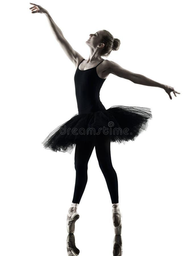 芭蕾舞女演员舞蹈家跳舞妇女被隔绝的剪影 免版税库存图片