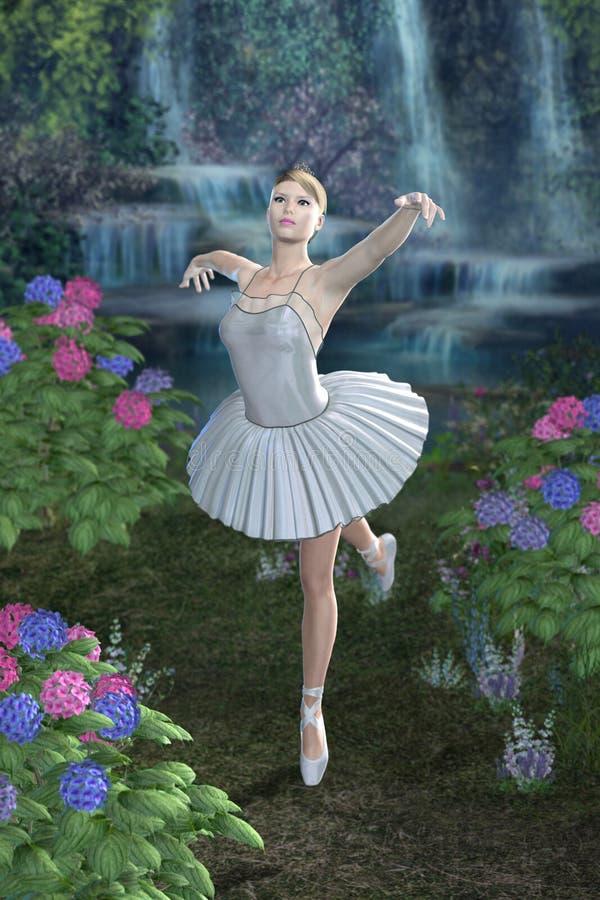 芭蕾舞女演员蓝色瀑布 免版税库存照片
